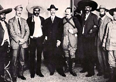 LEFT TO RIGHT: General Francisco Pacheco, Abraham Martínez, Emiliano Zapata, general Manuel Asúnsolo, licenciado Gabriel Robles Domínguez y Eufemio Zapata