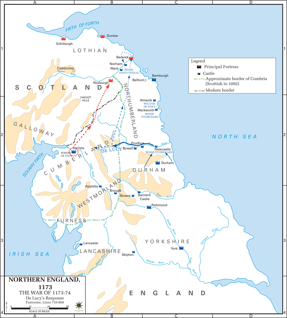 Map of Northern England - Anglo-Norman Rebellion 1173-1174 - De Lucy's Response