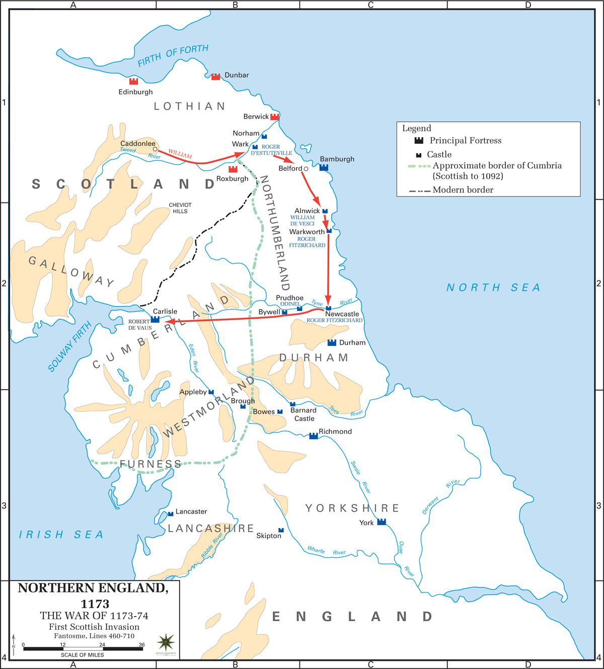 Map of the Anglo-Norman Rebellion 1173-1174: The First Scottish Invasion