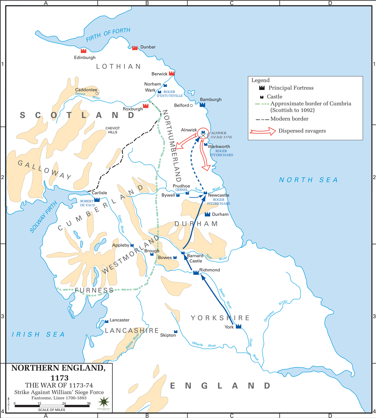 Map of Northern England - Anglo-Norman Rebellion 1173-1174 - Strike Against William
