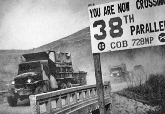Crossing the 38th parallel. United Nations forces withdraw from Pyongyang, the North Korean capital. They recrossed the 38th parallel.