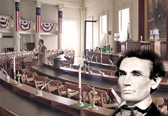 LINCOLN AND THE CHAMBER IN WHICH HE DELIVERED THIS SPEECH - A House Divided 1858