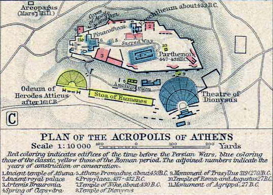 map of the acropolis of athens 200 ad