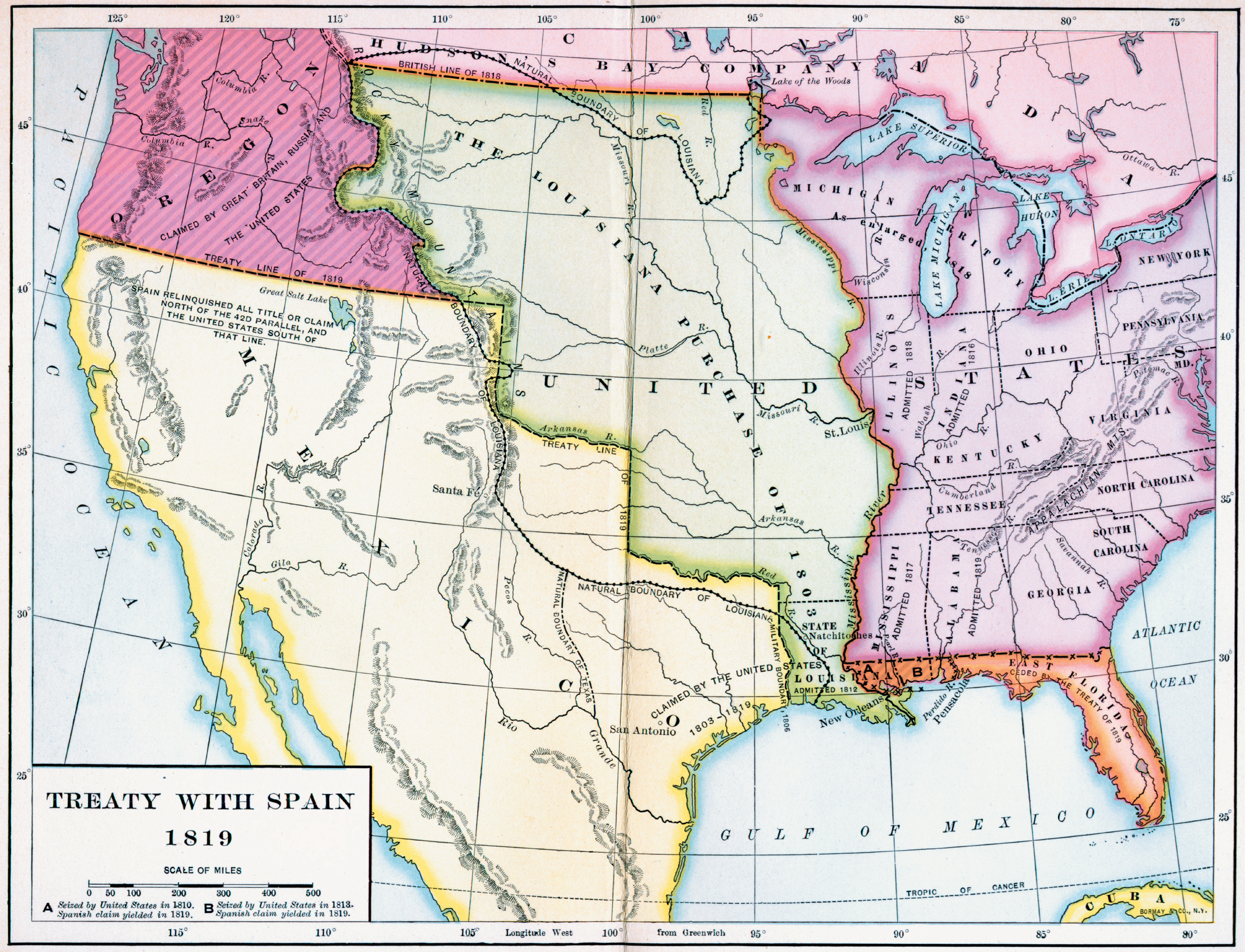 Map Of The Treaty With Spain - Us map 1819