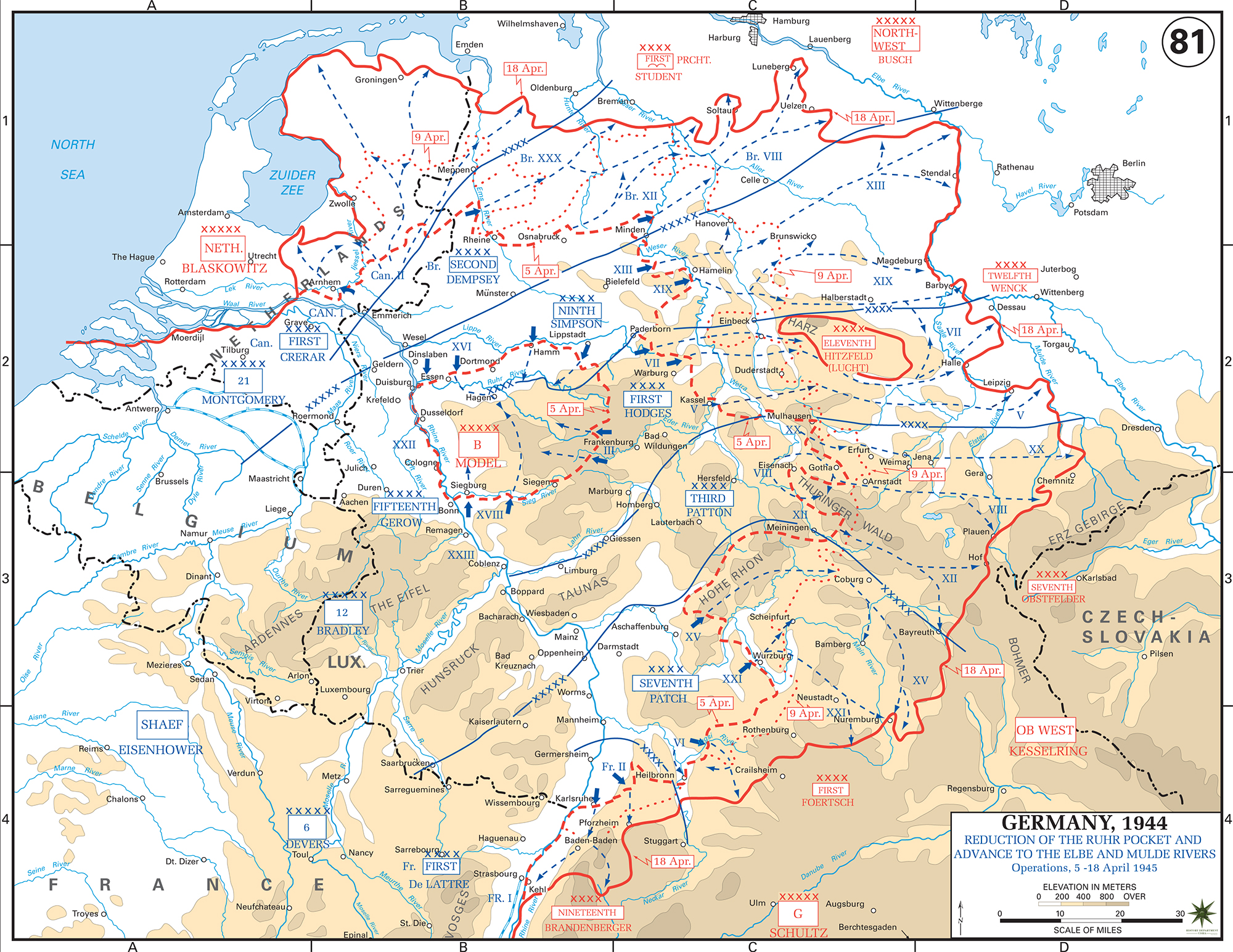 map of world war ii germany reduction of the ruhr pocket and advance to