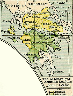 Map of the Aetolian and Achaean Leagues at the time of the Macedonian Empire 336 BC - 323 BC.