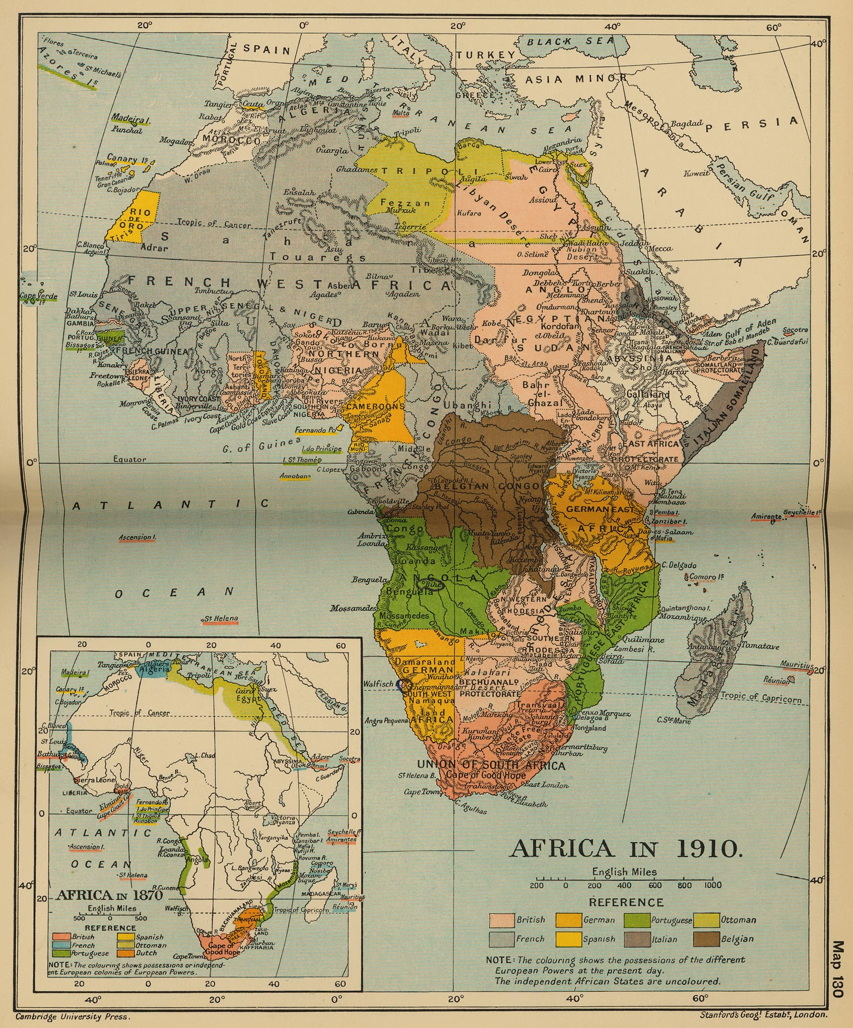 Map Of Africa 1700.Map Of Africa 1870 And 1910
