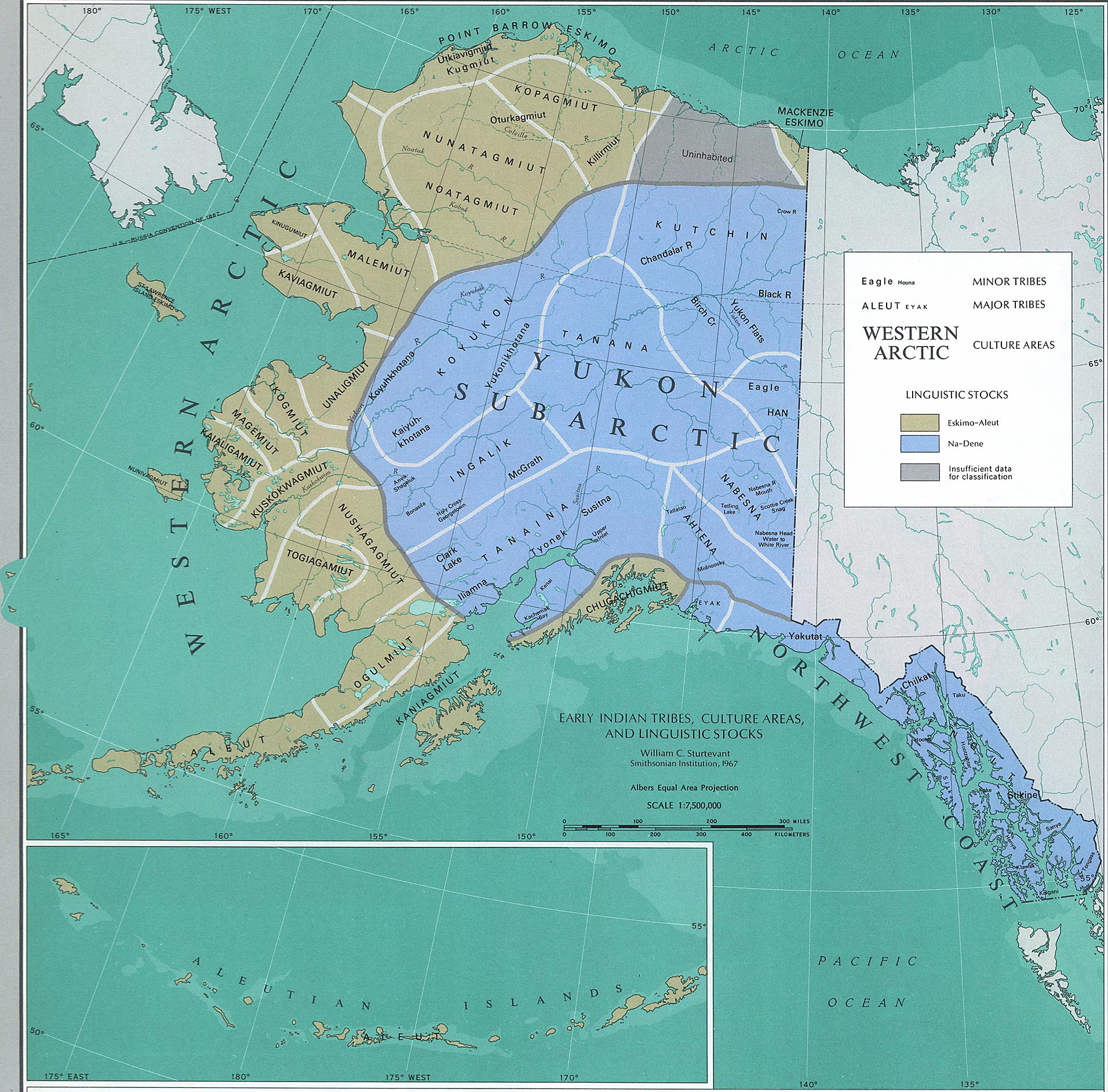 map of alaska early indian tribes culture areas and linguistic stocks