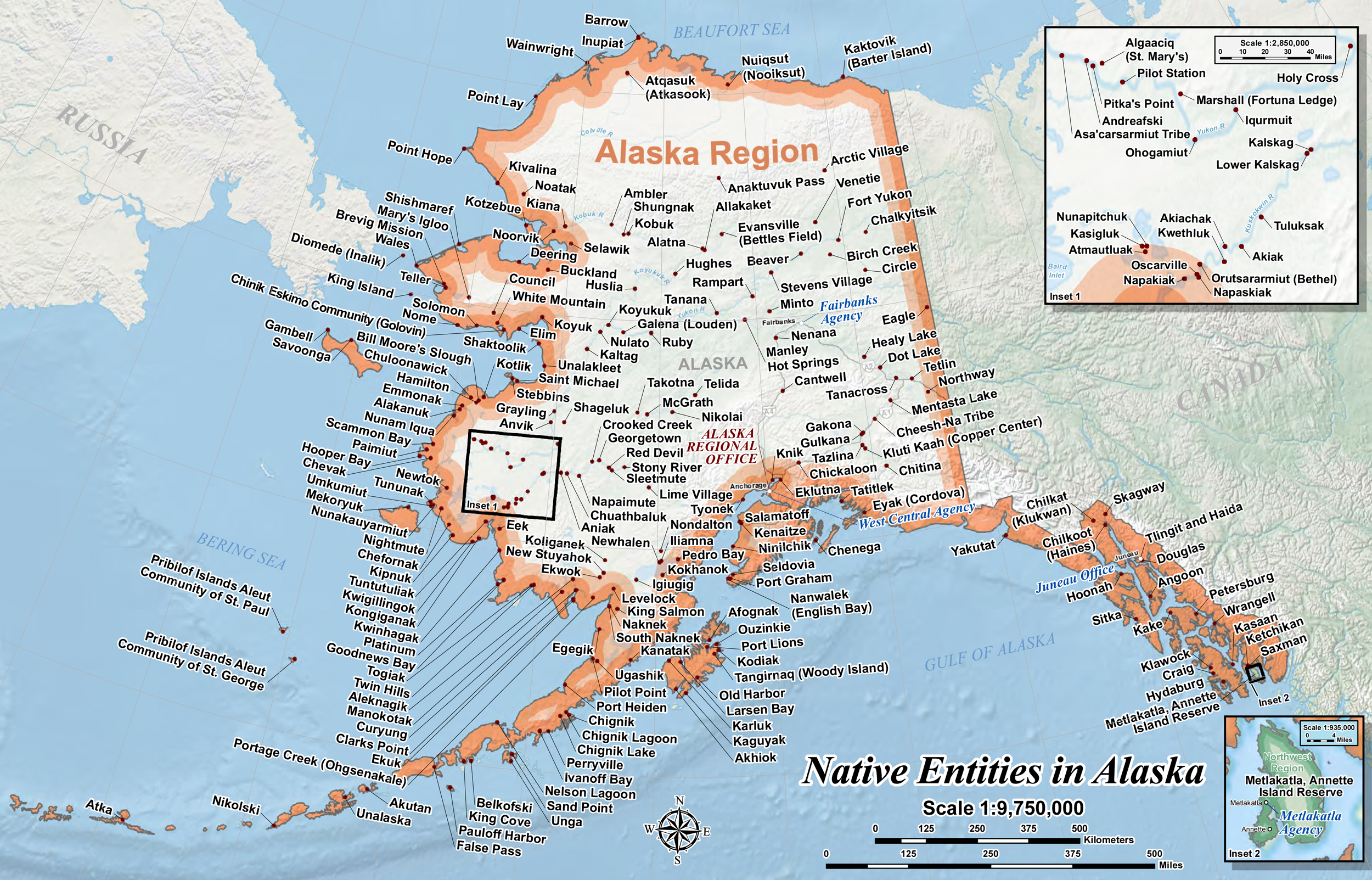 US: Map of the Native Entities in Alaska