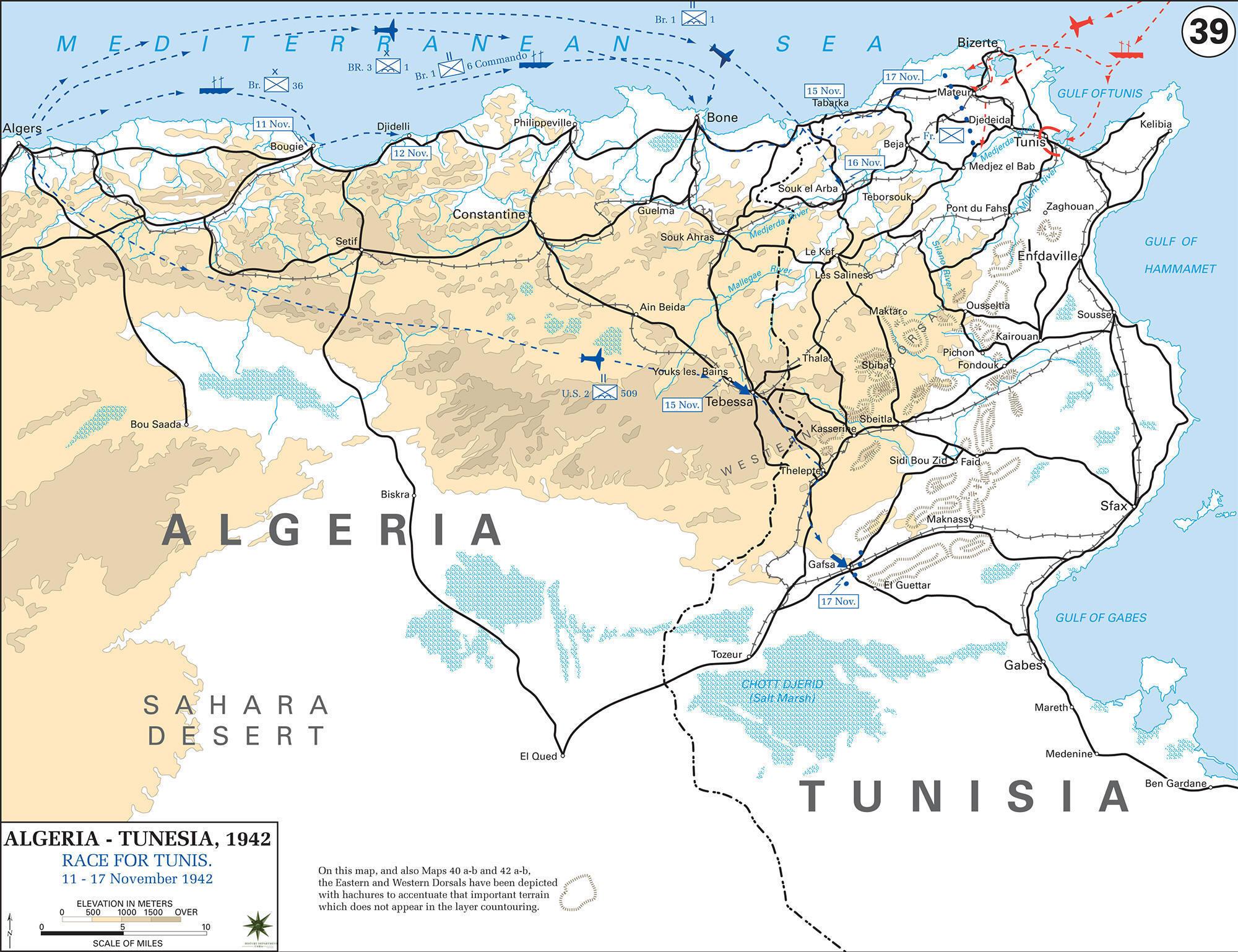 Map Of WWII AlgeriaTunisia - Algeria map