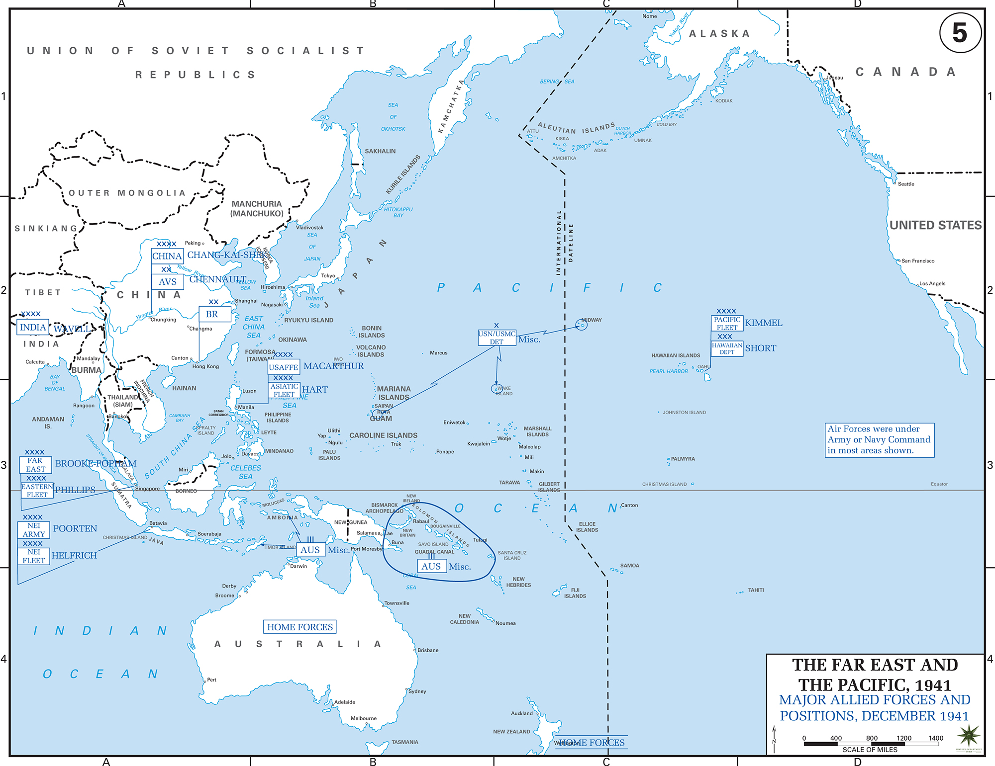 Map of World War II: The Far East and the Pacific 1941. Major Allied Forces and