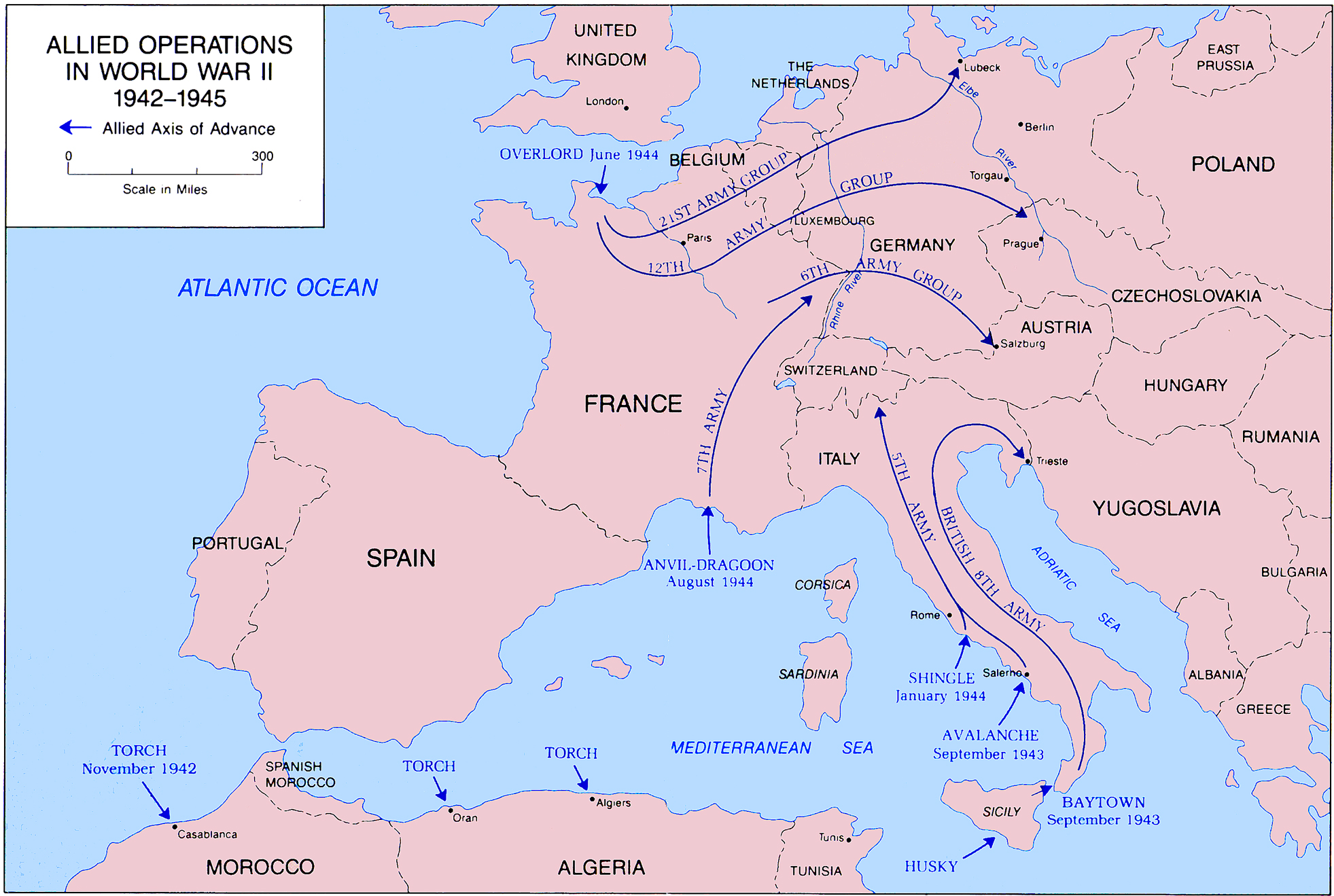 Map of the allied operations 1942 1945 map of world war ii allied operations in europe and north africa 1942 1945 sciox Image collections