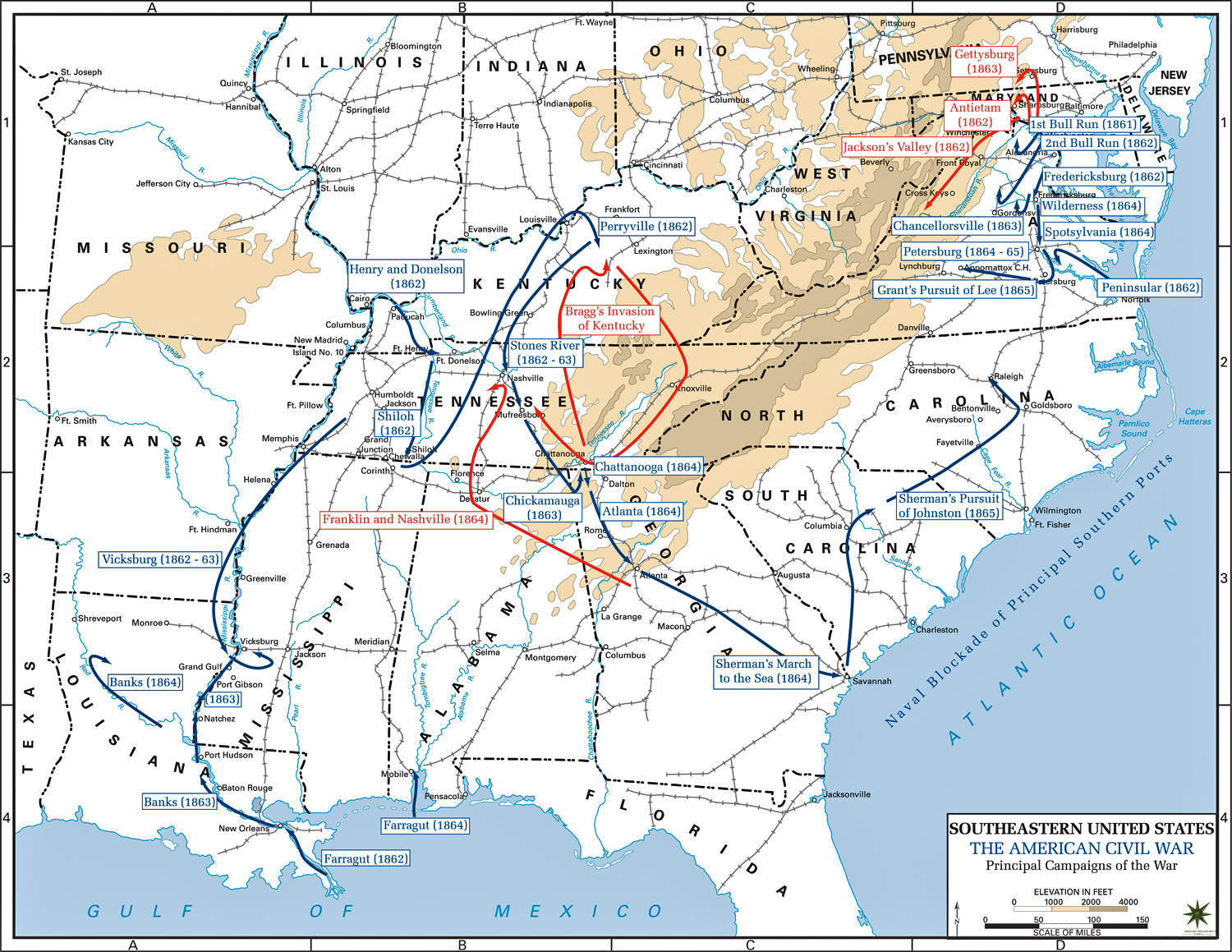 Of The American Civil War Principal Campaigns - Us map of civil war battles