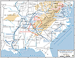 Map of the American Civil War: Principal Campaigns 1861-1865