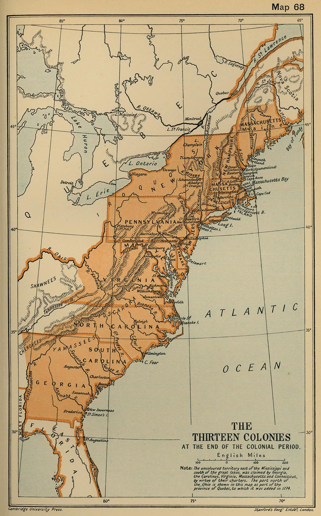 Of The American Colonies - Original thirteen colonies map
