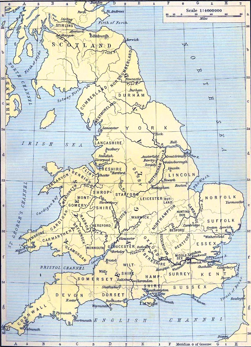 Map of Localities in England connected with American History