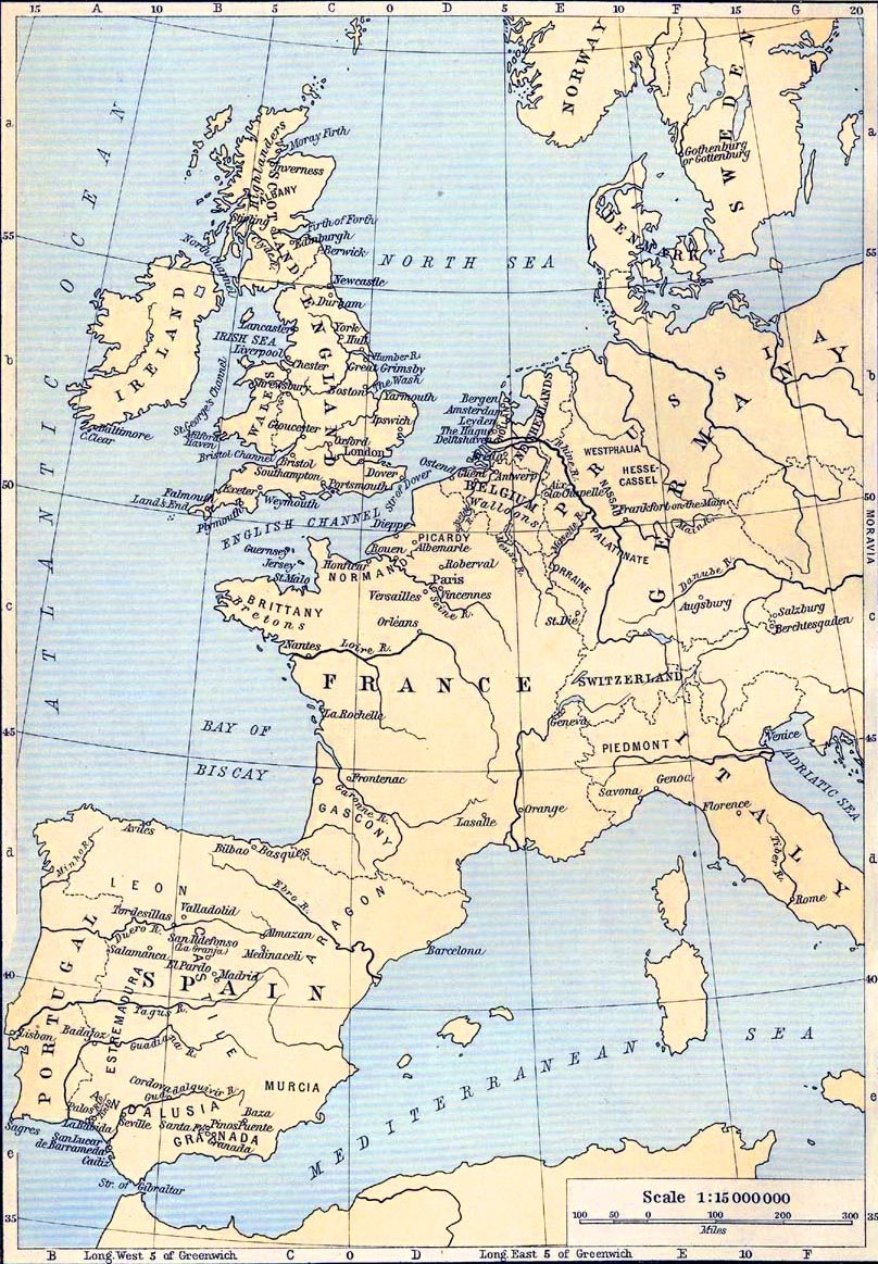 Map of American History in Europe