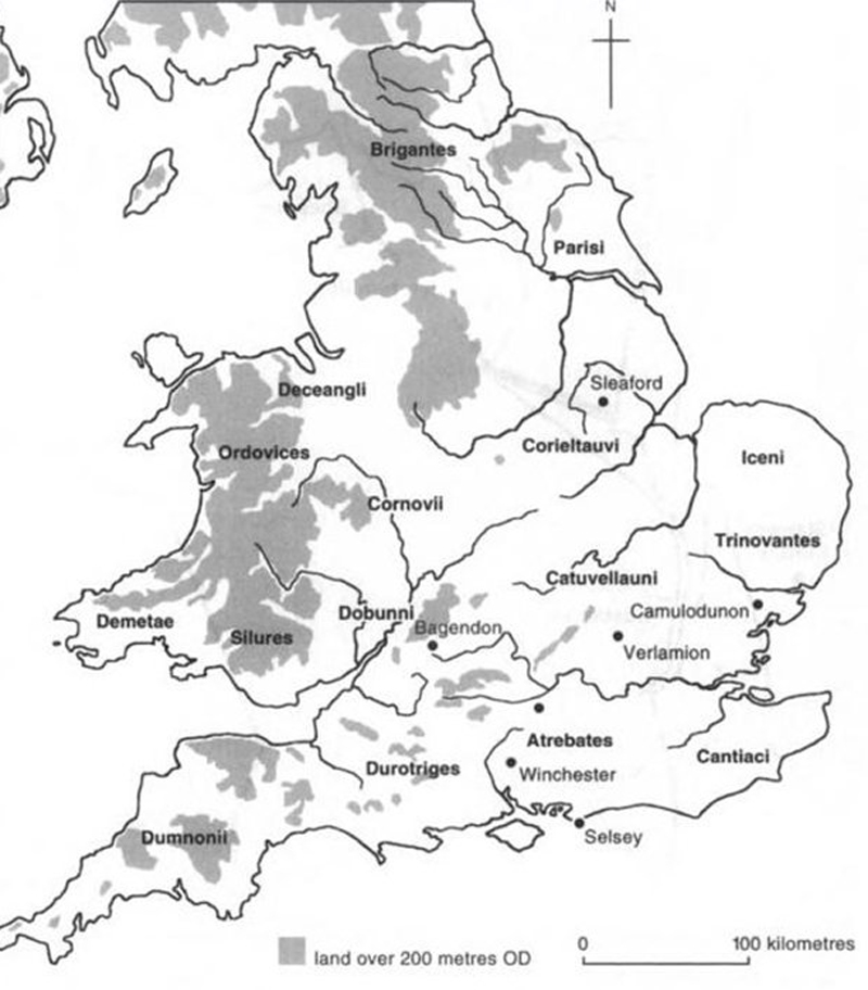 Historical Map of the Tribes in Ancient Britain