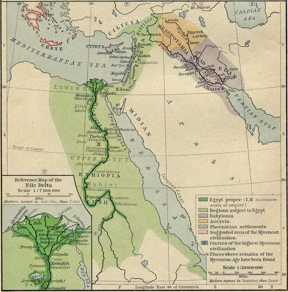 Map of Egypt, Syria, and Mesopotamia 1450 BC