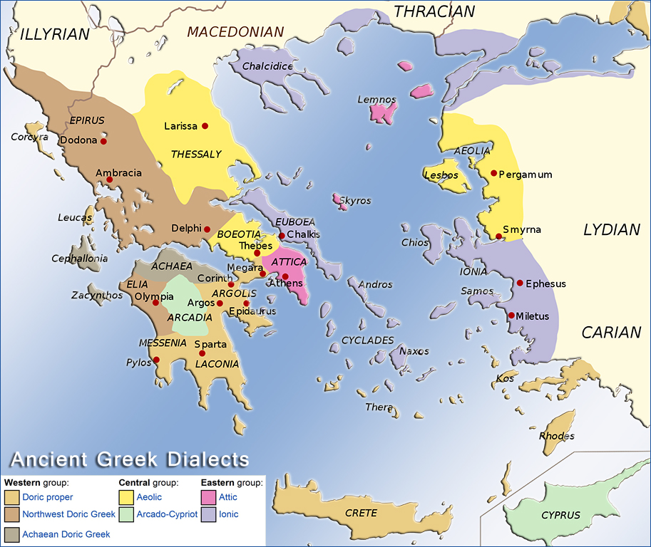 Map Of The Ancient Greek Dialects: Athens Ancient Greece Map At Slyspyder.com