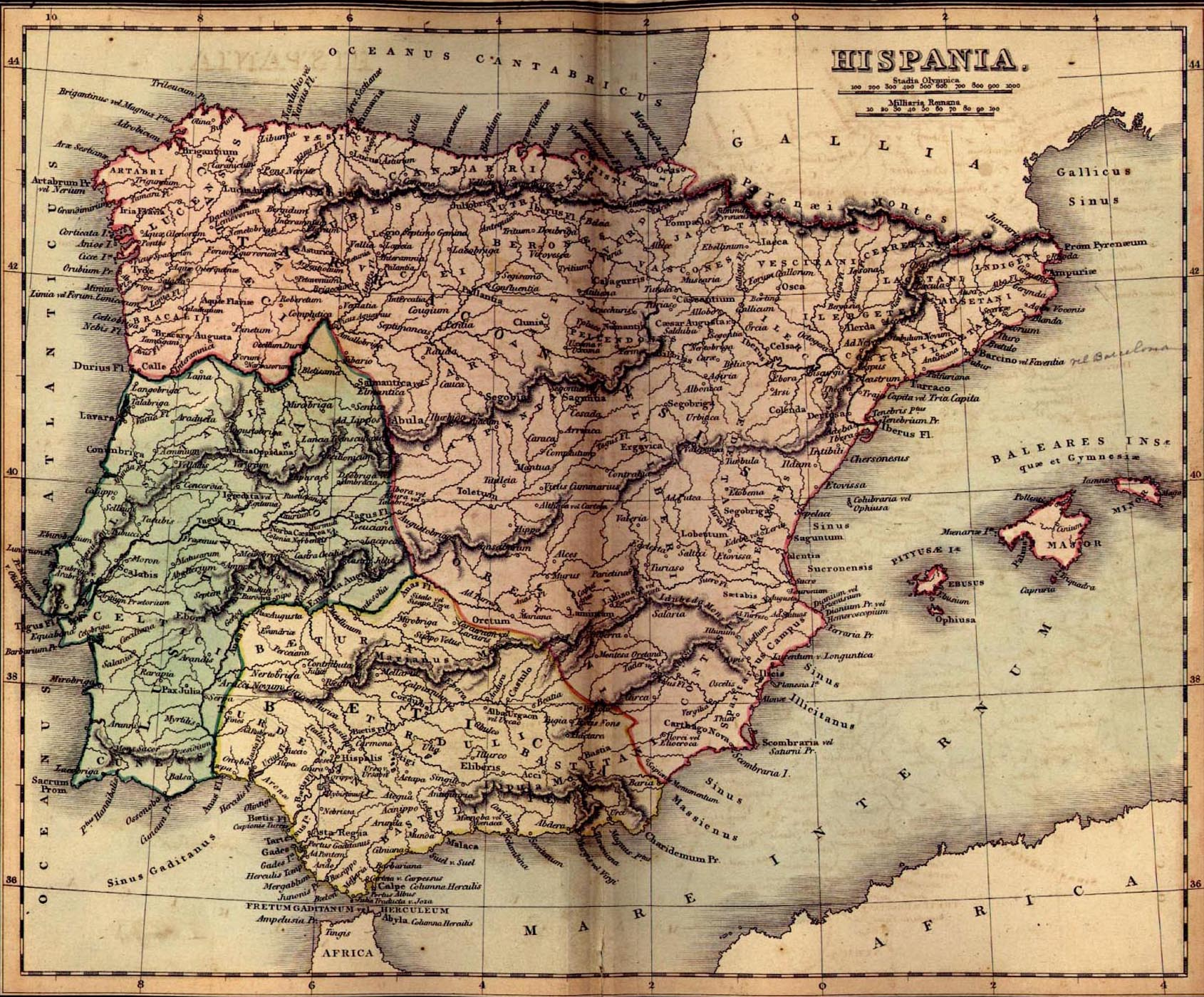 Vintage Map Of Ancient Spain Hispania - Portugal map 1500