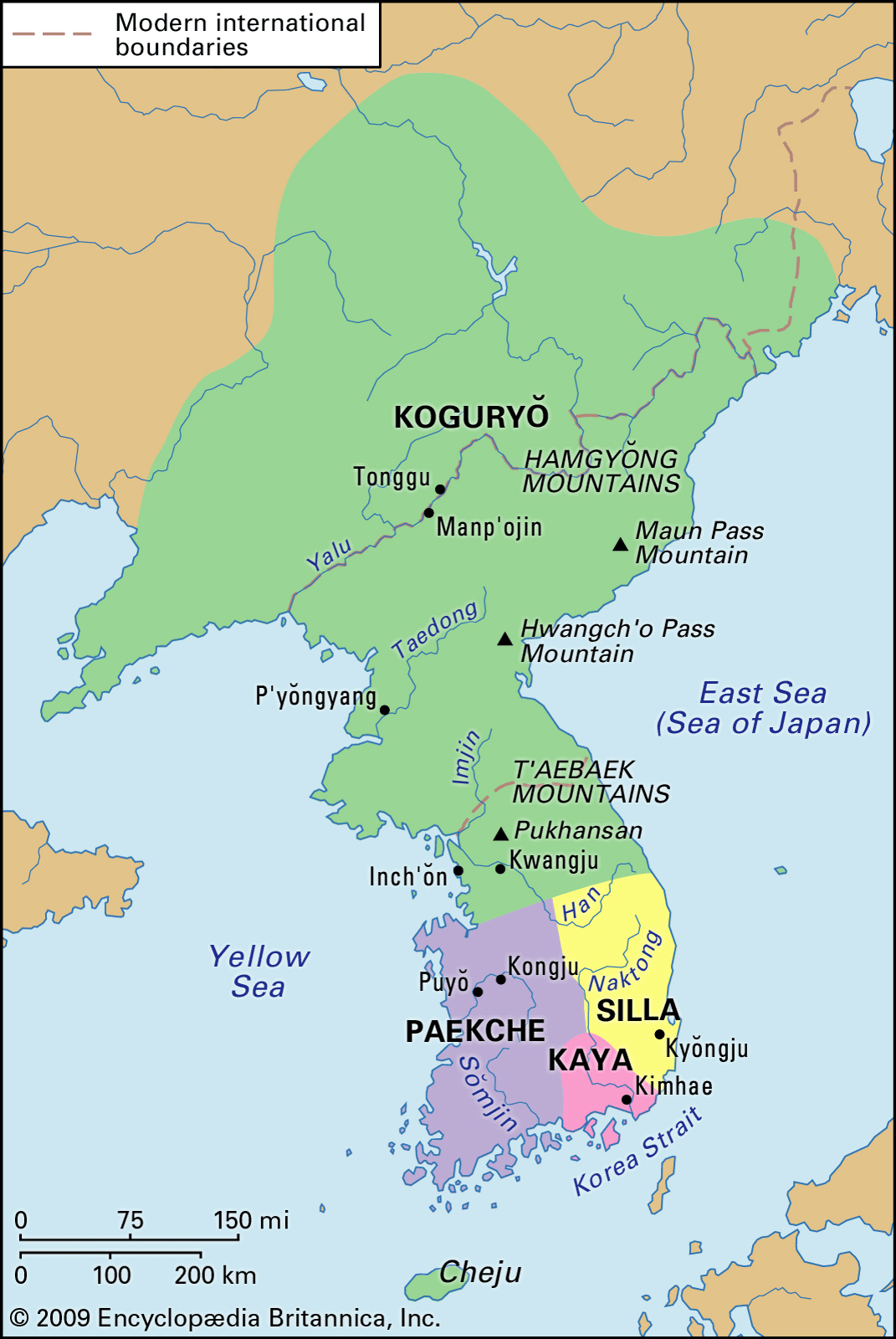 Map of Ancient Korea. The Three Kingdoms.