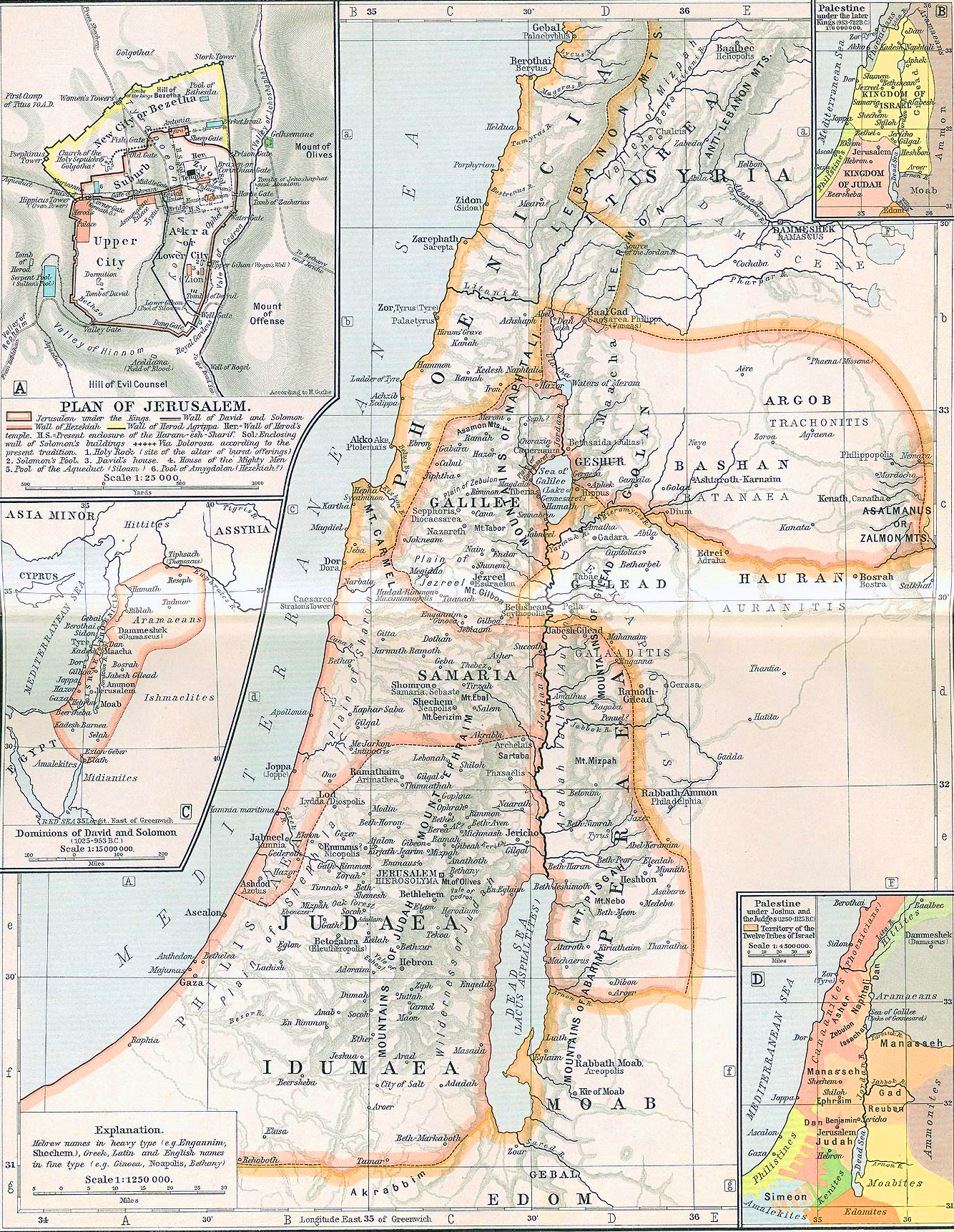 Ancient Palestine. Insets: Plan of Jerusalem. Dominions of David and Solomon (1025-953 B.C.). Palestine under the later Kings (953-722 B.C.). Palestine under Joshua and the Judges (1250-1125 B.C.)