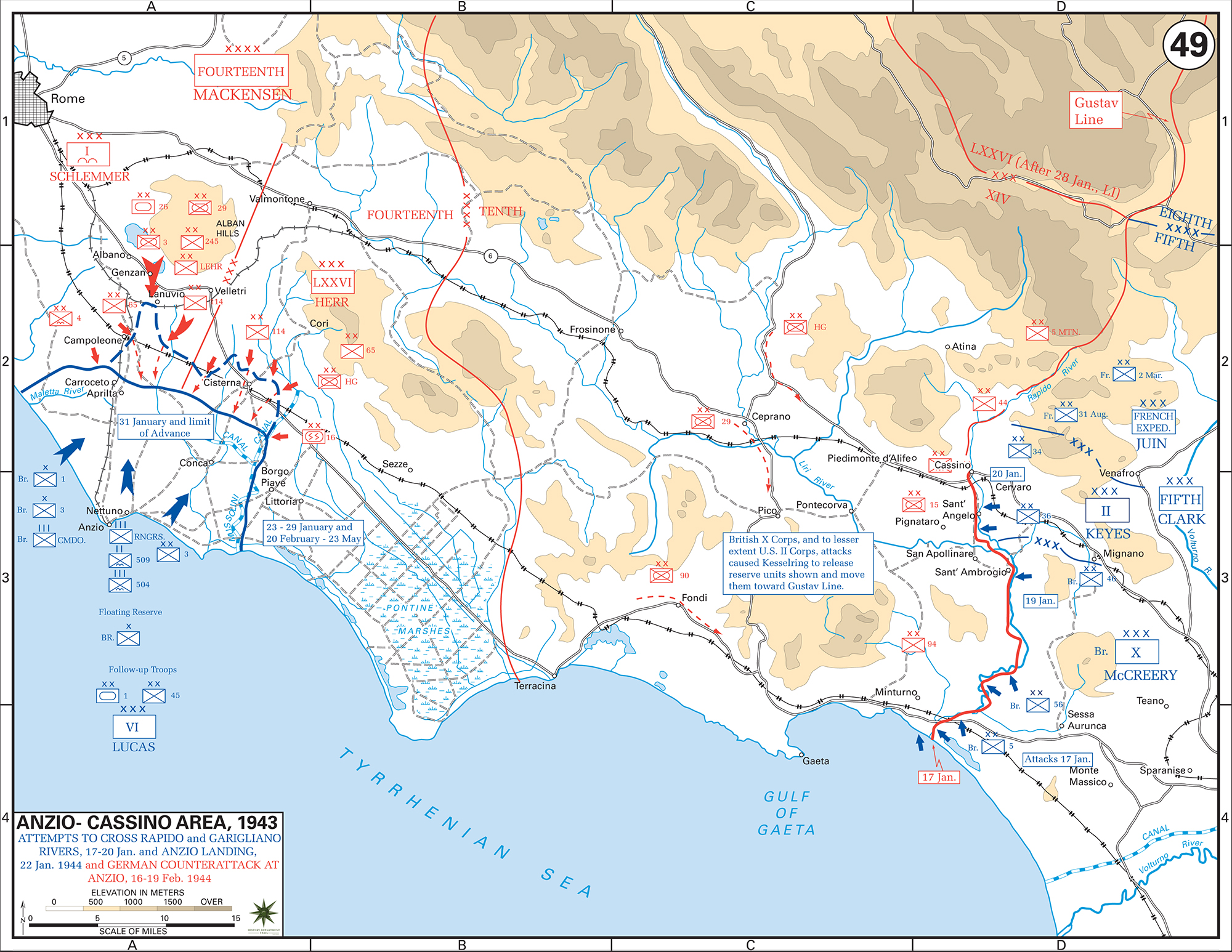 Map of WWII Italy, Anzio-Cassino Region, January 17 - February 19, 1944