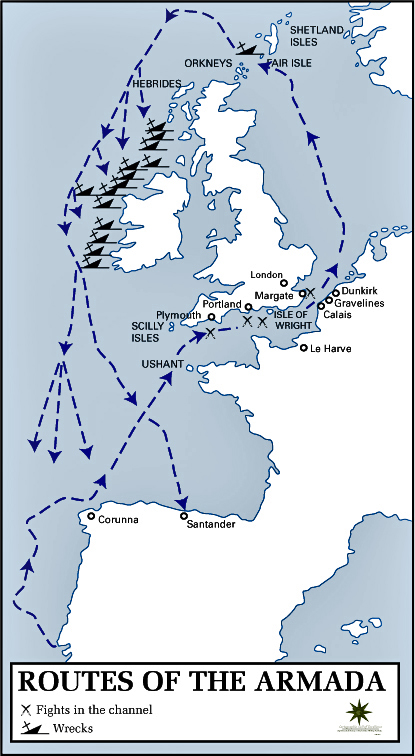 Map of the Routes of the Armada 1588 (USMA)
