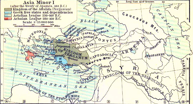 Map of Asia Minor after the Treaty of Apamea, 188 B.C.
