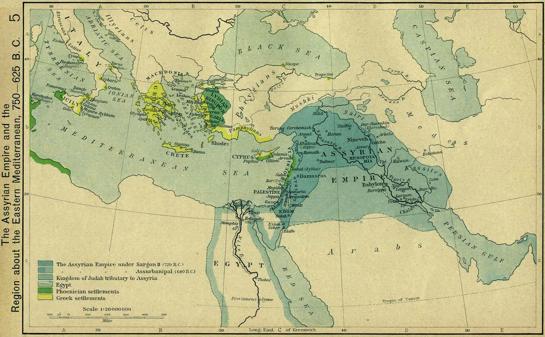 Map of the Assyrian Empire 750 625 BC