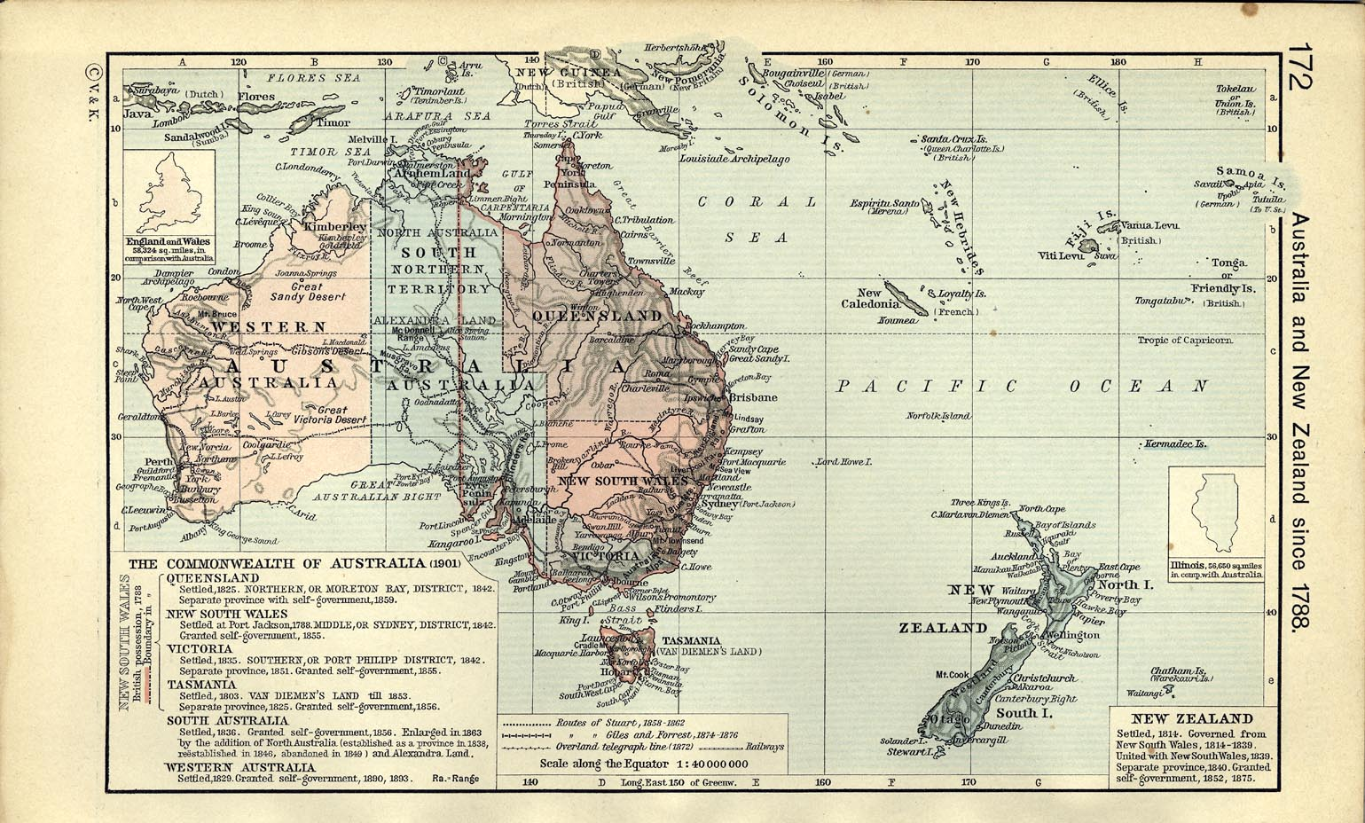 Map of Australia and New Zealand since 1788