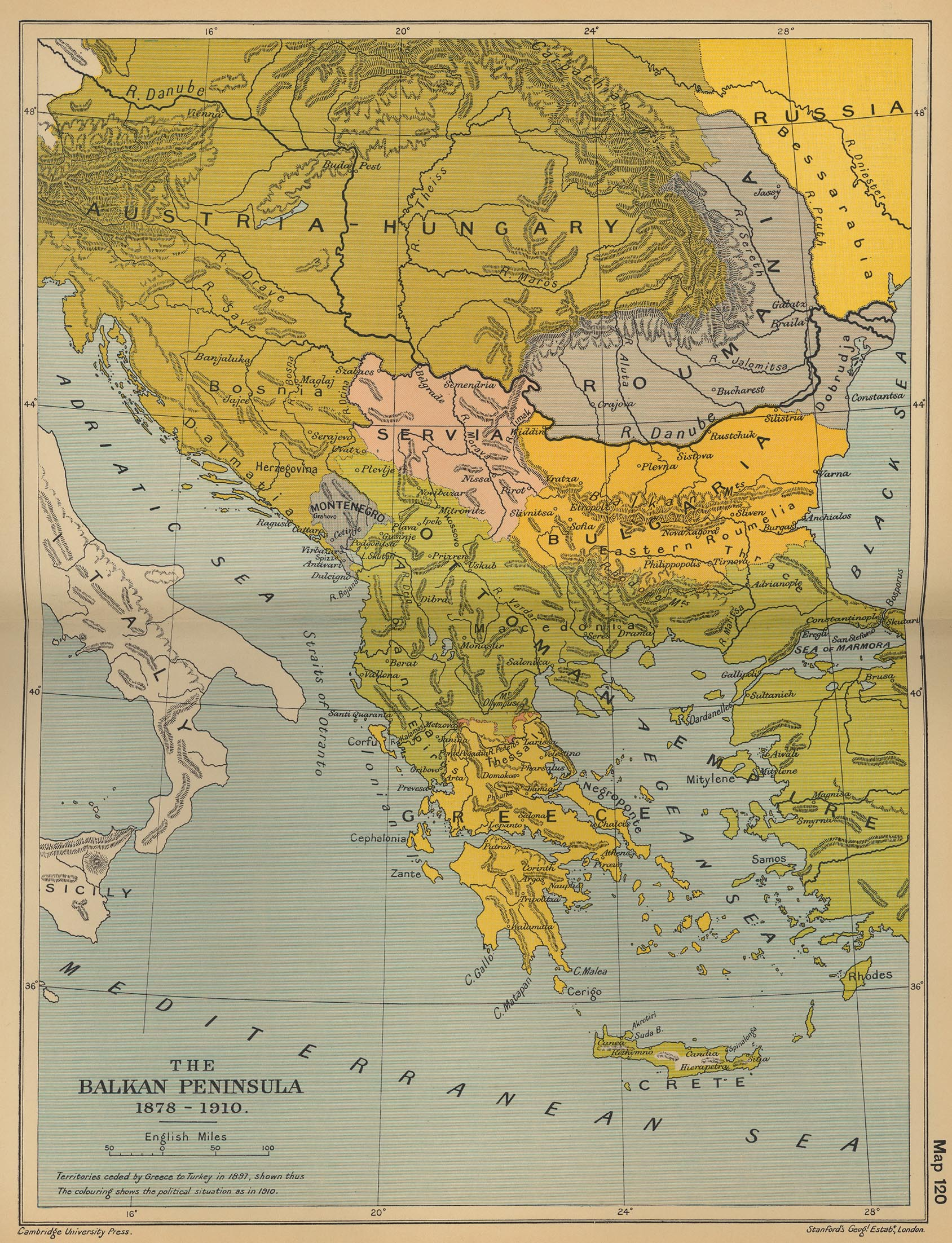 Map of the Balkan Peninsula 1878-1910