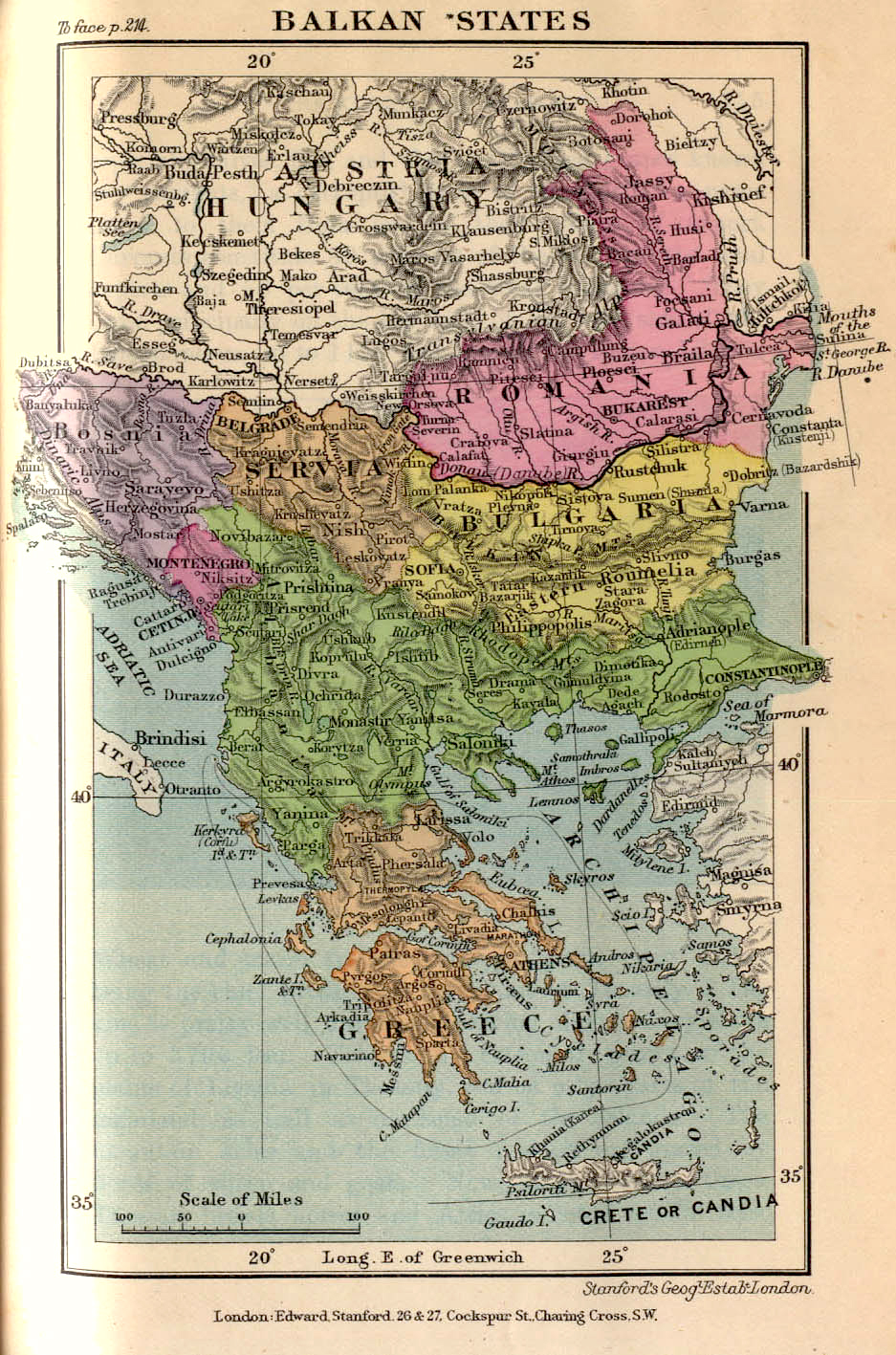 Map of the Balkan States 1899