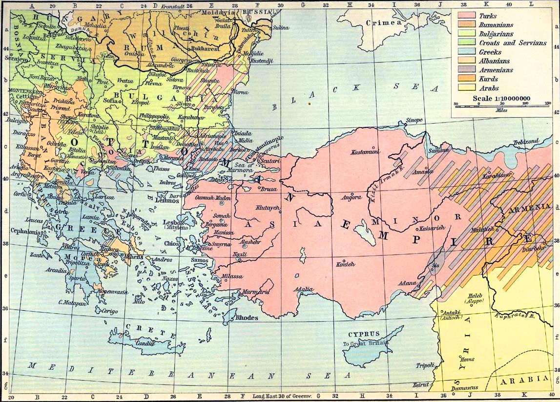 History map of the distribution of races in the Balkan Peninsula and