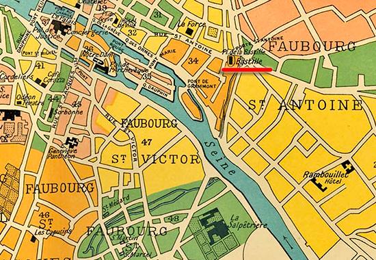 Bastille History Dictionary - Map of paris bastille
