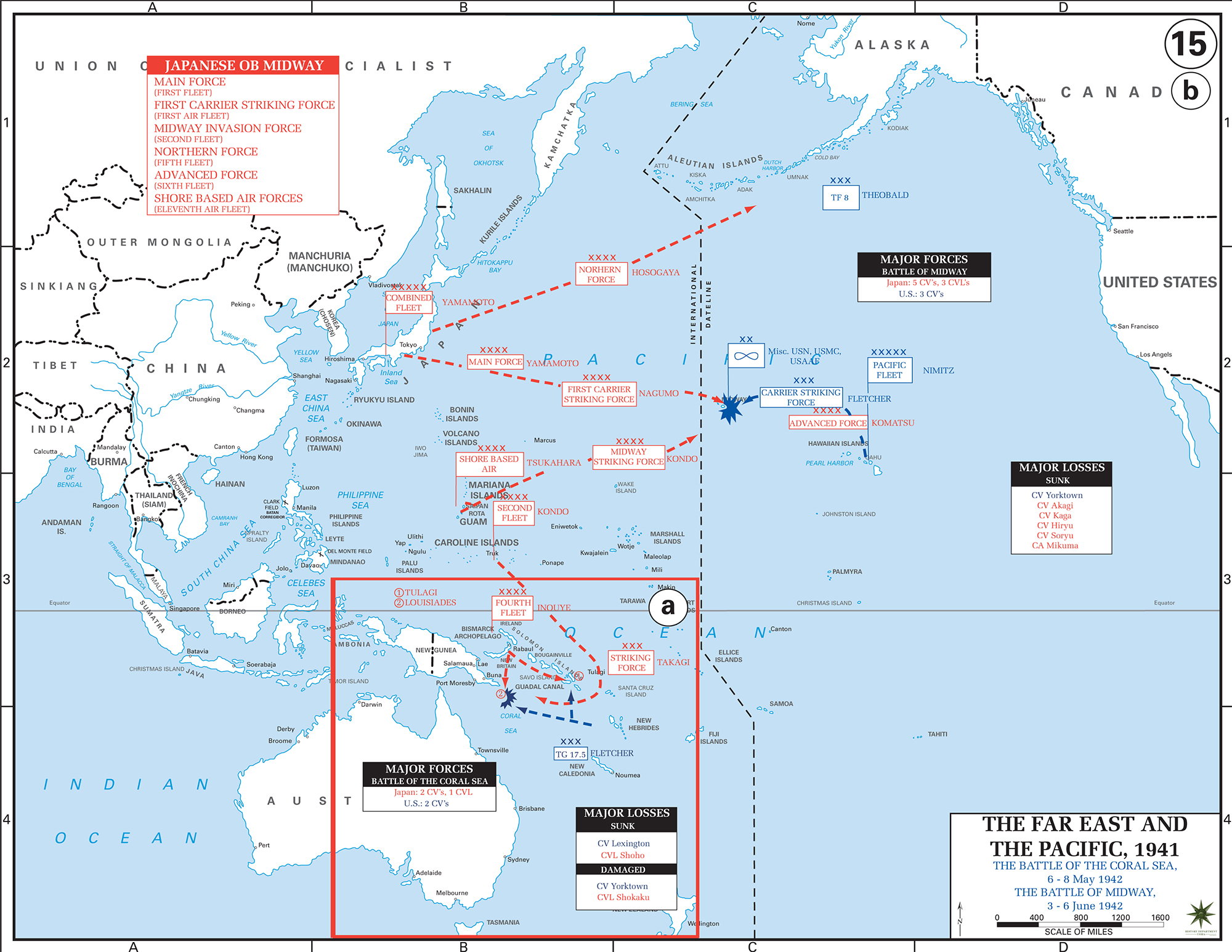 map of the battle of the coral sea and the battle of midway 1942