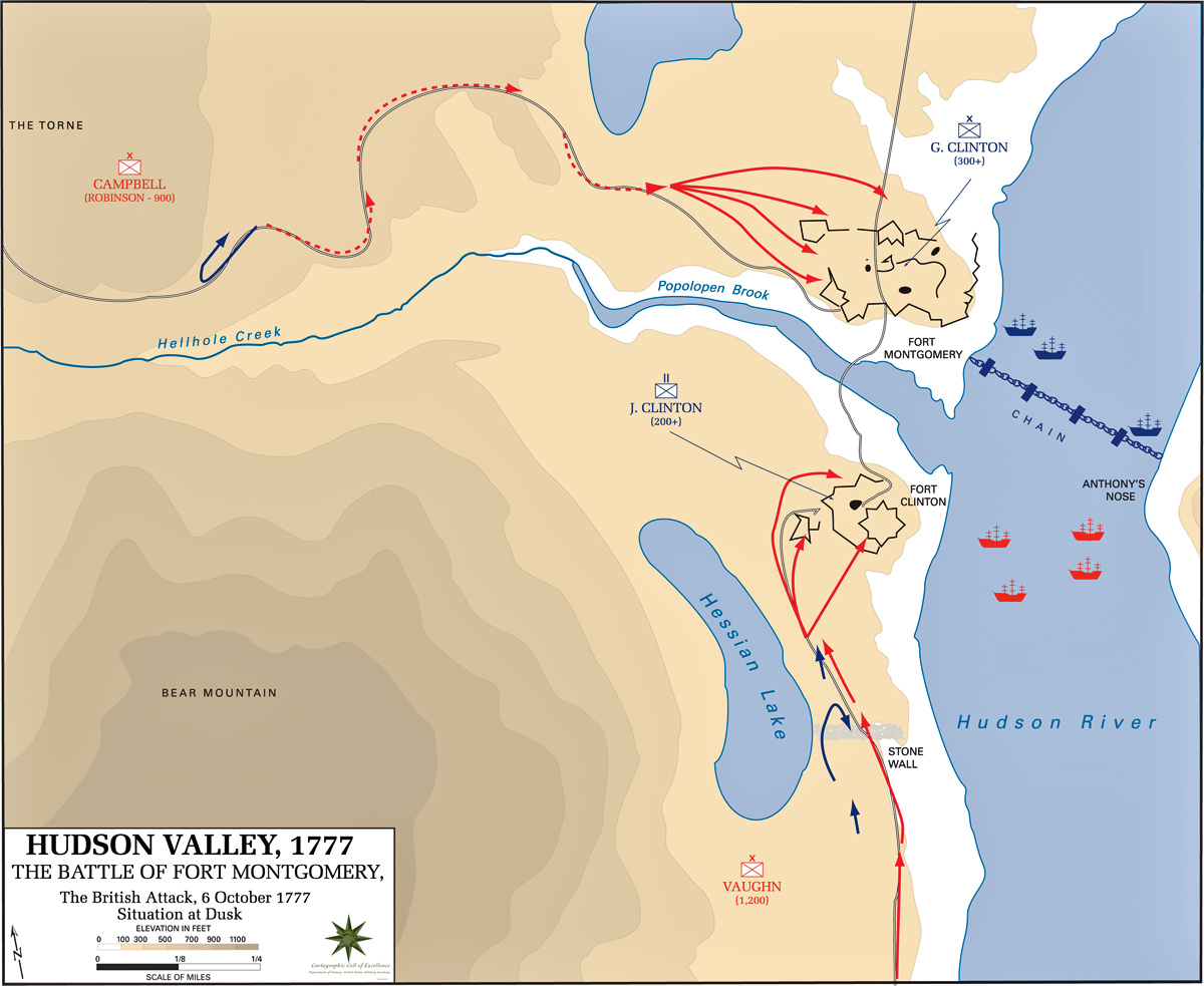 Map of the Battle of Fort Montgomery - October 6, 1777