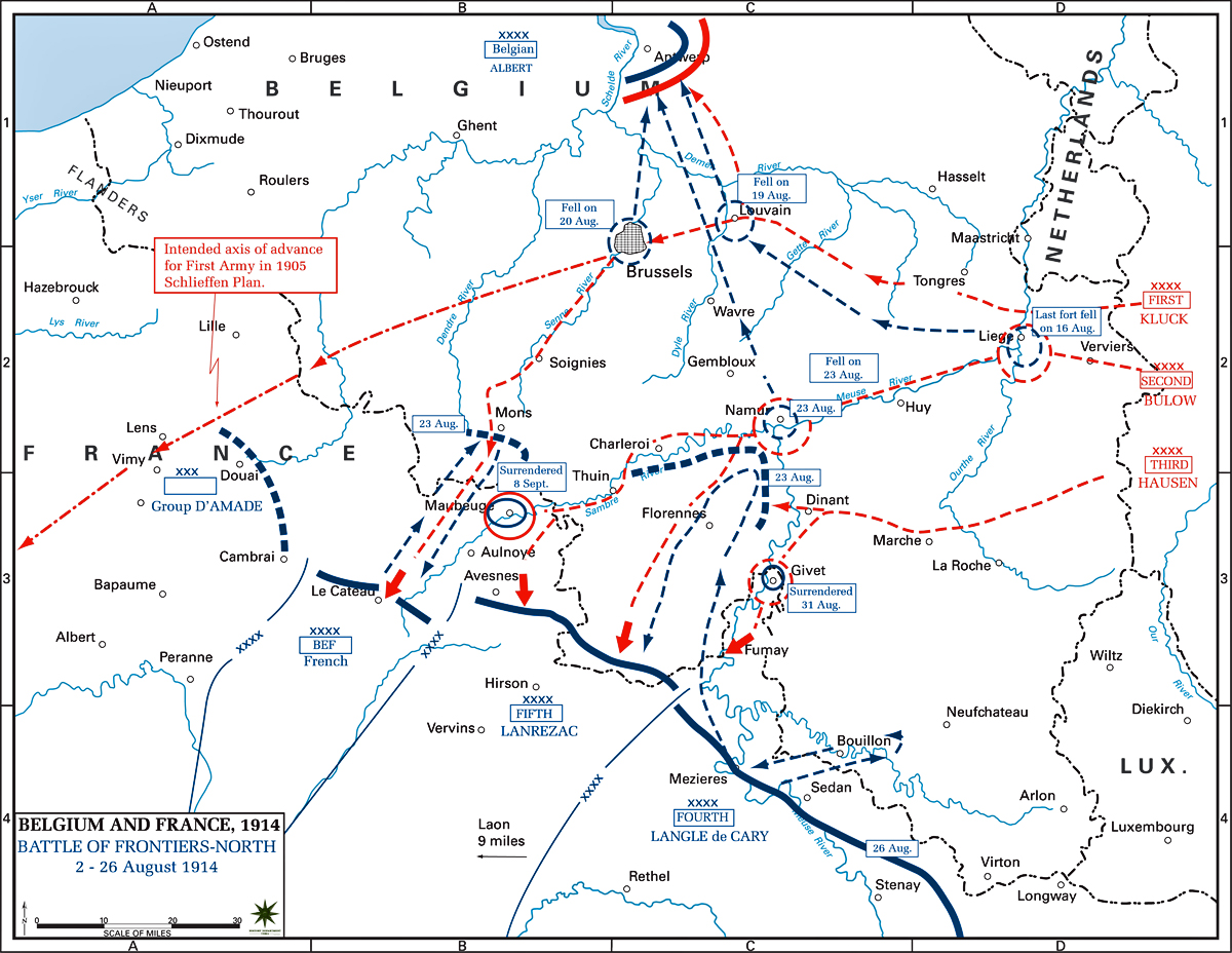 Map Of Northern France Belgium.Map Of The Battle Of The Frontiers North August 1914