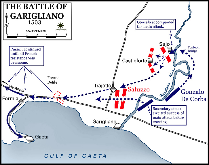 Map of the Battle of the Garigliano - December 27, 1503
