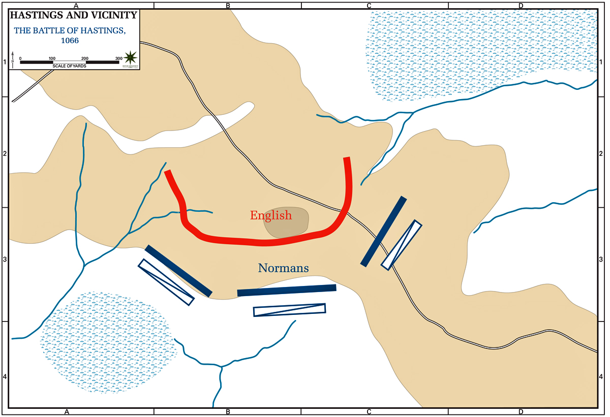 Map of the Battle of Hastings 1066