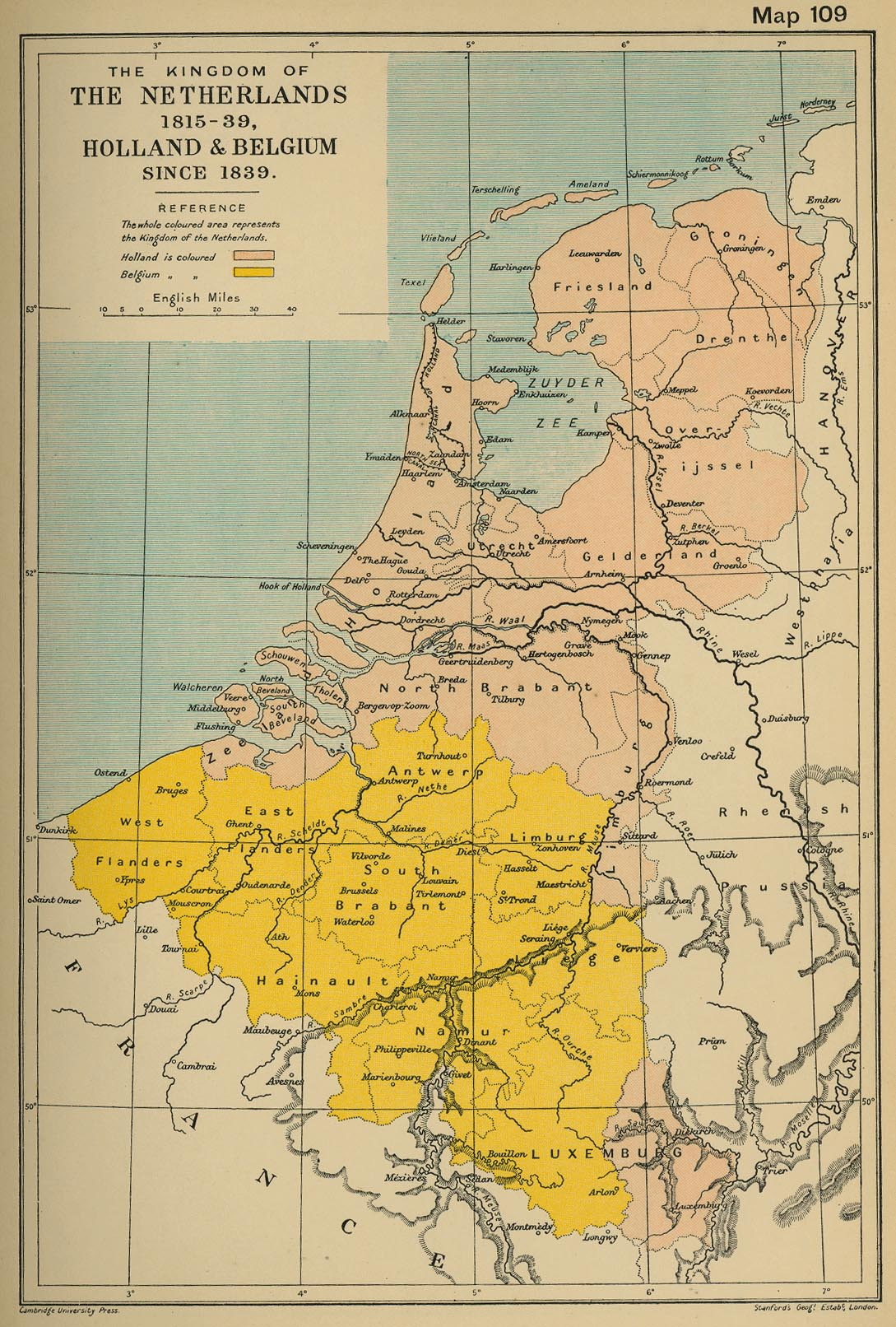 Map of the Netherlands 1815-39, Holland and Belgium since 1839