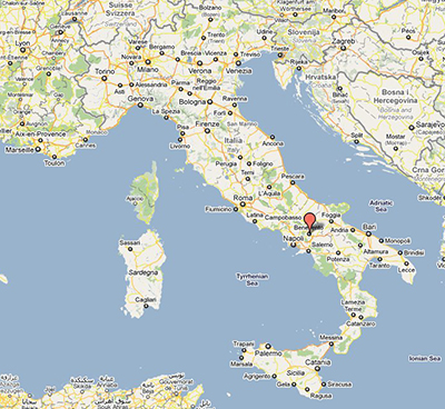 Map Location of B�n�vent, or Benevento, in Italy