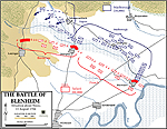 Map of the Battle of Blenheim - August 13, 1704: At Noon