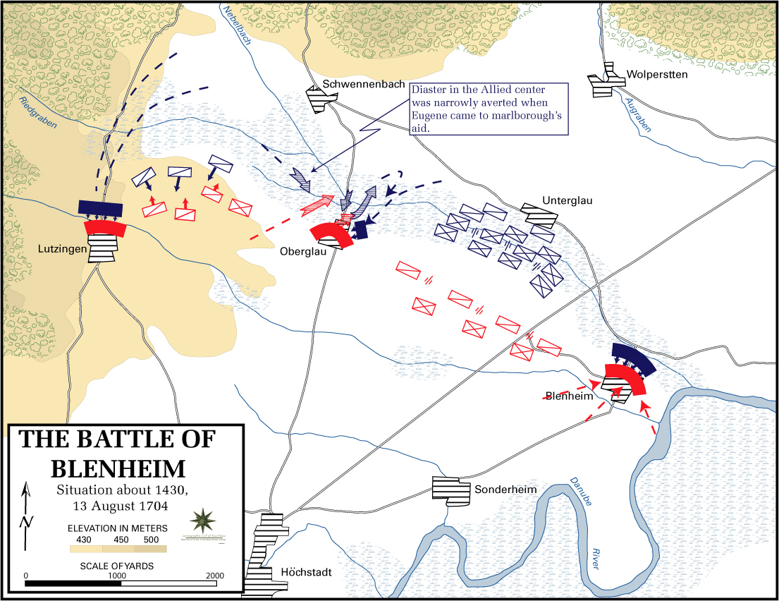 Map of the Battle of Blenheim - August 13, 1704: Situation at 14.30h