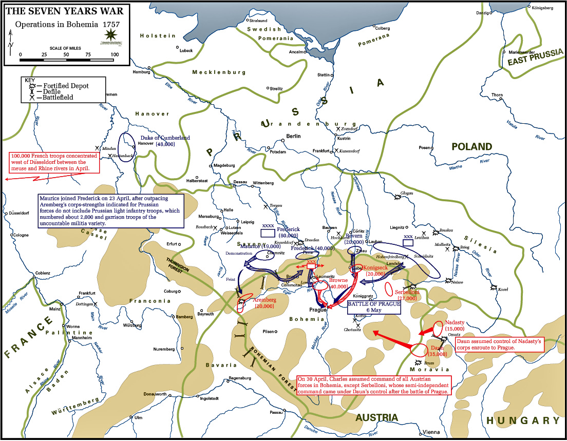 Map Of The Seven Years War Bohemia 1757