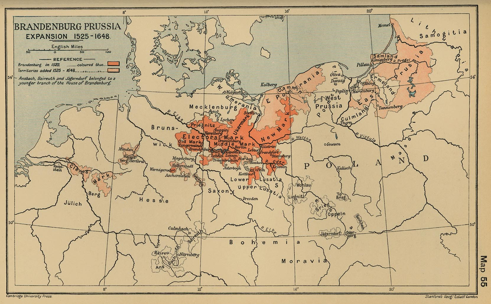 Map of Brandenburg Prussia Expansion 1525-1648