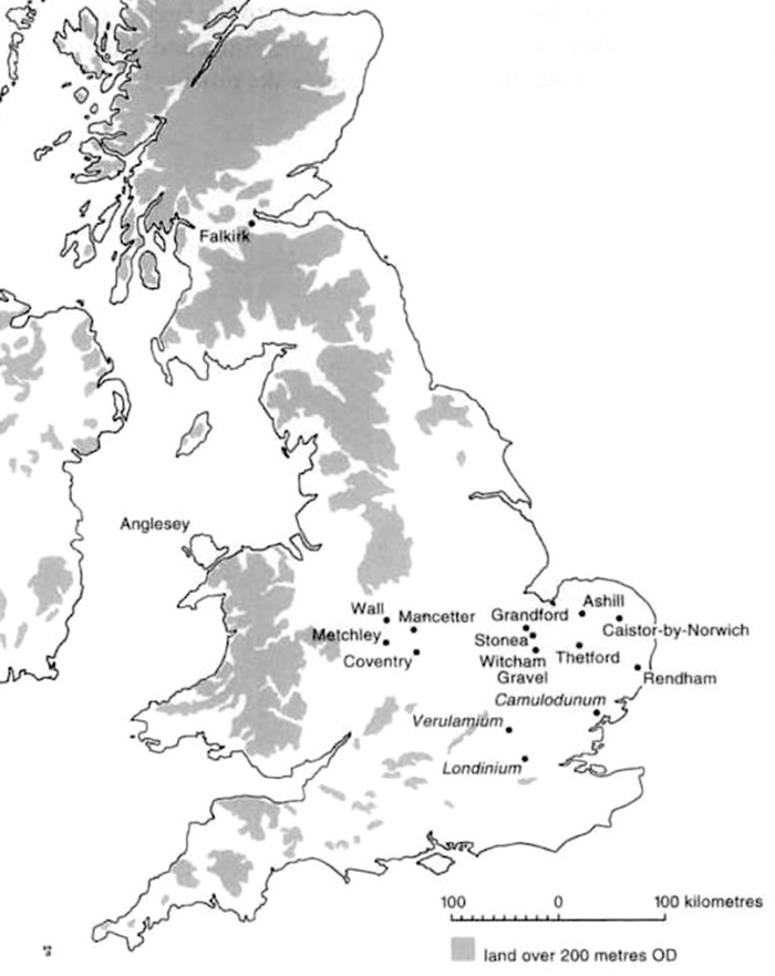 Historical Map of Boudica's Britain AD 60.