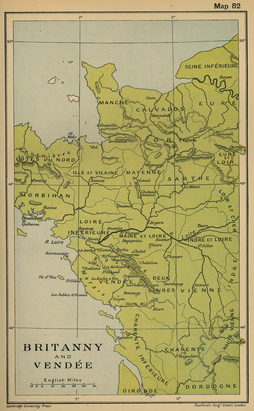 Map of Britanny and Vendee 1793