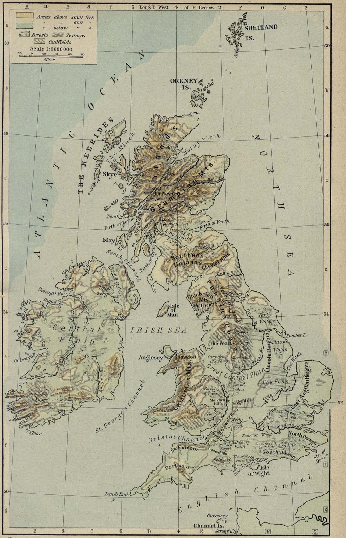 Map Of Uk 1500.British Isles Physical Map